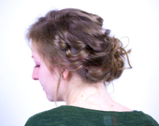 Finished Face Slimming Updo Side View