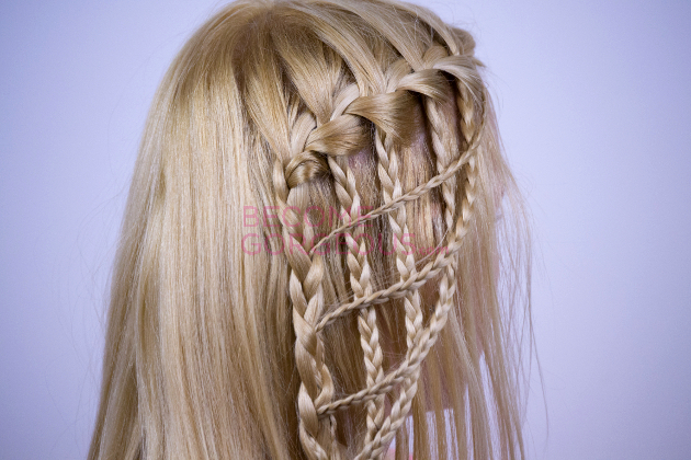 Finished Modified Waterfall Braid Hairstyle