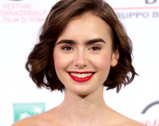 Lily Collins Neck Length Bob Haircut