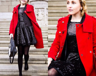 Sparkly Dress Red Coat
