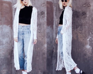 Mom Jeans With Lace Kimono
