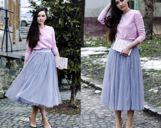 Tulle Skirt Paired With Sweater