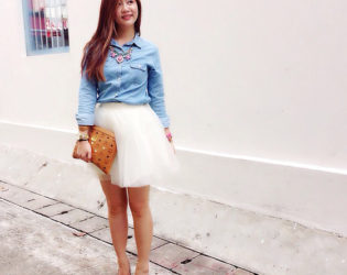 Tulle Skirt With Chambray Shirt