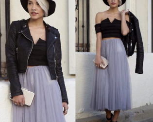 Tulle Skirt With Leather Jacket