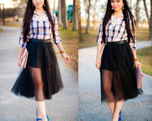 Tulle Skirt With Plaid Shirt